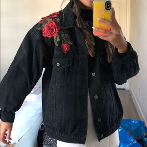 Oversized denim jacket with patches